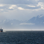 Looking behind us toward some of the mountains near Ushuaia, and the pilot boat for the port.